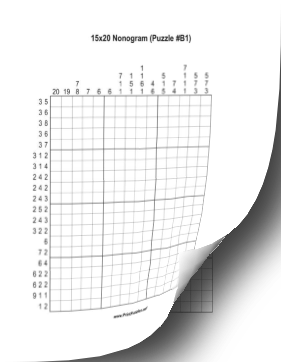 Printable Nonogram Book - 15x20 Printable Puzzle
