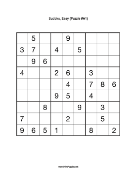 Sudoku - Easy A1 Printable Puzzle
