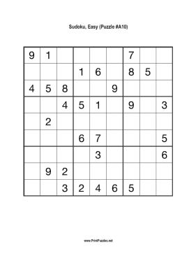 photograph about Beginner Sudoku Printable identify Sudoku - Uncomplicated A10 Printable Puzzle