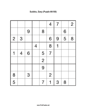 Sudoku - Easy A100 Printable Puzzle