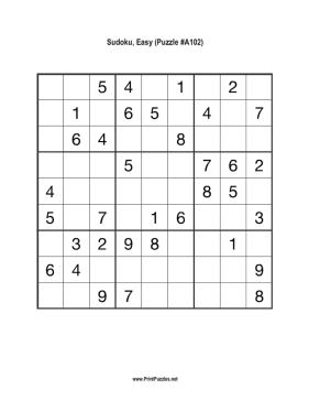 Sudoku - Easy A102 Printable Puzzle