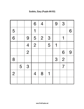 Sudoku - Easy A103 Printable Puzzle