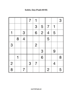 Sudoku - Easy A105 Printable Puzzle