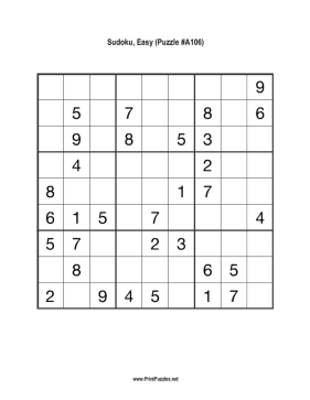 Sudoku - Easy A106 Printable Puzzle