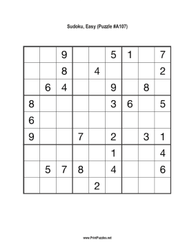 Sudoku - Easy A107 Printable Puzzle