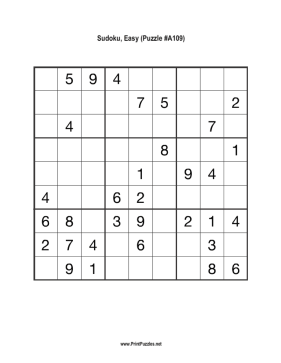 Sudoku - Easy A109 Printable Puzzle