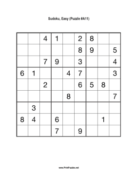 Sudoku - Easy A11 Printable Puzzle