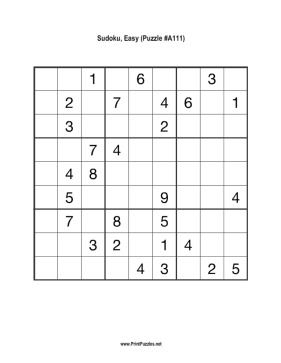 Sudoku - Easy A111 Printable Puzzle