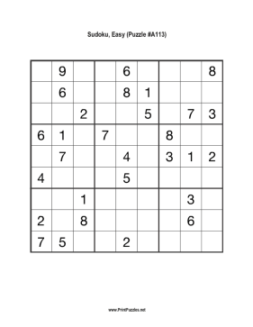 Sudoku - Easy A113 Printable Puzzle