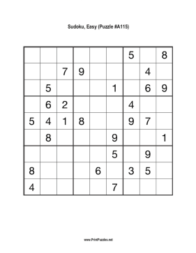 Sudoku - Easy A115 Printable Puzzle