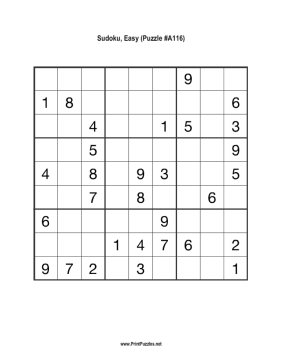 Sudoku - Easy A116 Printable Puzzle
