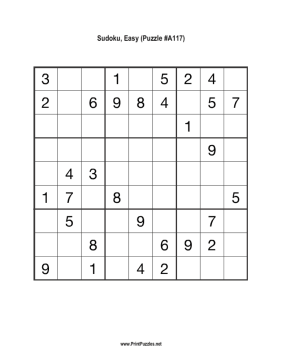 Sudoku - Easy A117 Printable Puzzle