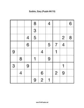 Sudoku - Easy A118 Printable Puzzle
