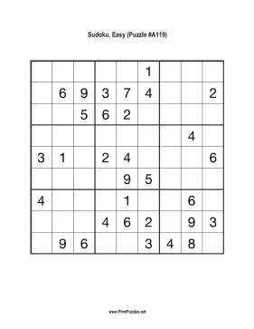 Sudoku - Easy A119 Printable Puzzle
