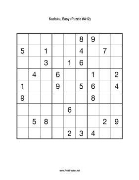Sudoku - Easy A12 Printable Puzzle