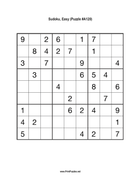 Sudoku - Easy A120 Printable Puzzle