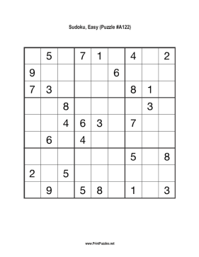Sudoku - Easy A122 Printable Puzzle