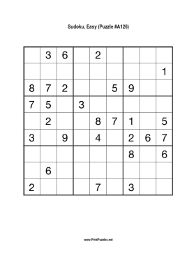 Sudoku - Easy A126 Printable Puzzle