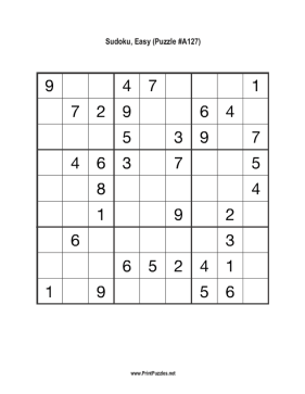 Sudoku - Easy A127 Printable Puzzle