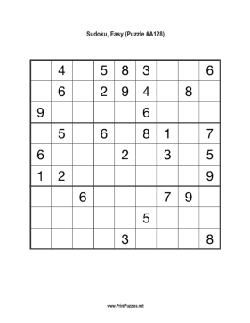 Sudoku - Easy A128 Printable Puzzle