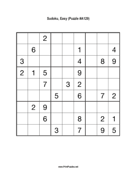 Sudoku - Easy A129 Printable Puzzle