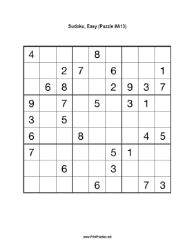 Sudoku - Easy A13 Printable Puzzle