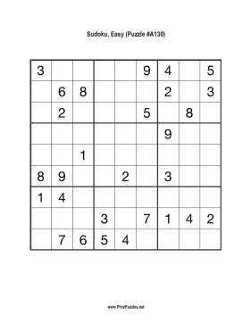 Sudoku - Easy A130 Printable Puzzle