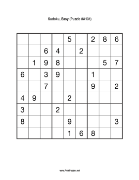 Sudoku - Easy A131 Printable Puzzle