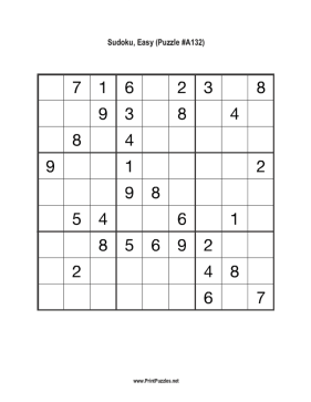 Sudoku - Easy A132 Printable Puzzle