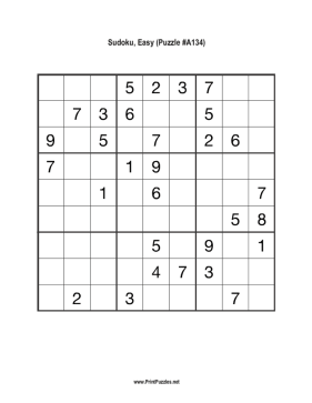 Sudoku - Easy A134 Printable Puzzle
