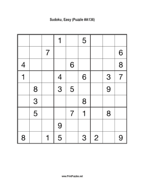 Sudoku - Easy A136 Printable Puzzle