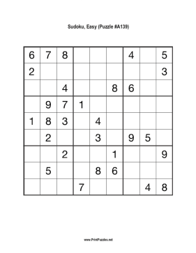Sudoku - Easy A139 Printable Puzzle