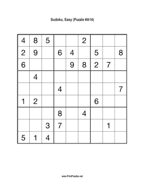 Sudoku - Easy A14 Printable Puzzle
