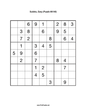 Sudoku - Easy A140 Printable Puzzle