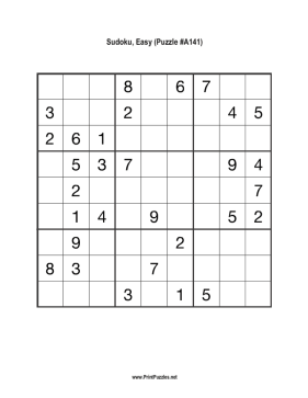Sudoku - Easy A141 Printable Puzzle
