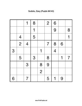 Sudoku - Easy A143 Printable Puzzle
