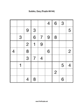 Sudoku - Easy A144 Printable Puzzle