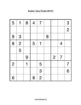 Sudoku - Easy A147 Printable Puzzle
