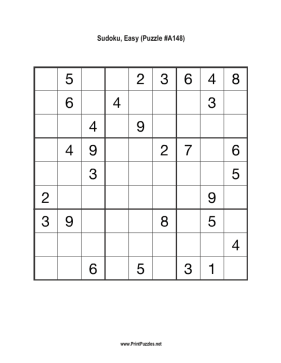 Sudoku - Easy A148 Printable Puzzle