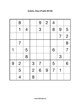 Sudoku - Easy A149 Printable Puzzle