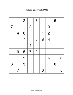 Sudoku - Easy A15 Printable Puzzle