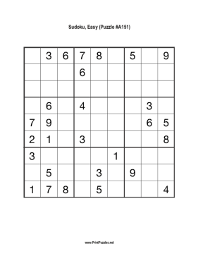 Sudoku - Easy A151 Printable Puzzle