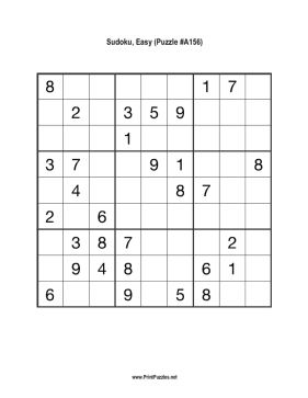 Sudoku - Easy A156 Printable Puzzle