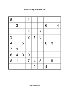 Sudoku - Easy A158 Printable Puzzle