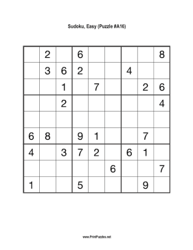 Sudoku - Easy A16 Printable Puzzle