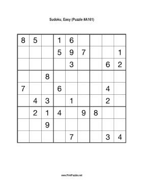 Sudoku - Easy A161 Printable Puzzle