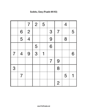 Sudoku - Easy A163 Printable Puzzle