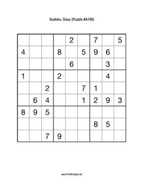Sudoku - Easy A169 Printable Puzzle
