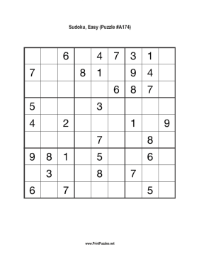 Sudoku - Easy A174 Printable Puzzle