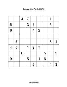 Sudoku - Easy A175 Printable Puzzle